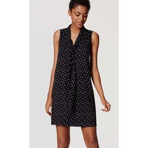 Loft Paw Print Tie Neck Dress - Small